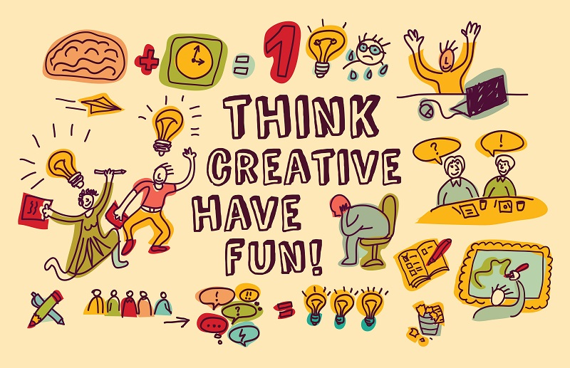 Doodles people and objects about fun creative business. Color illustration.